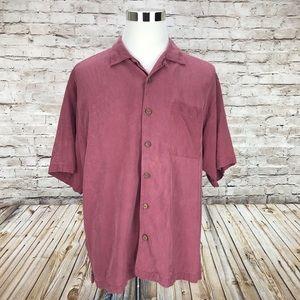 Tommy Bahama Silk Salmon Pink Button Shirt A36